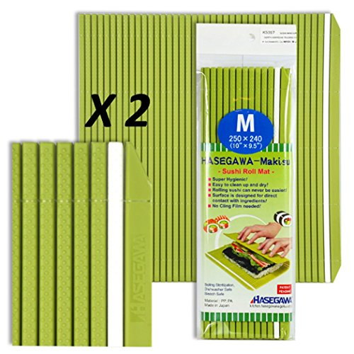 Set of 2 Japanese 10'' x 9.5'' Professional grade Plastic Sushi Rolling Mat/Made in Japan by Hasegawa