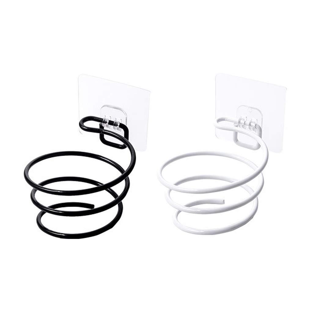 YFairy in Metallo mensola Organizer per Bagno asciugacapelli a Spirale Adesivo da Parete Supporto per asciugacapelli Barbiere Bianco