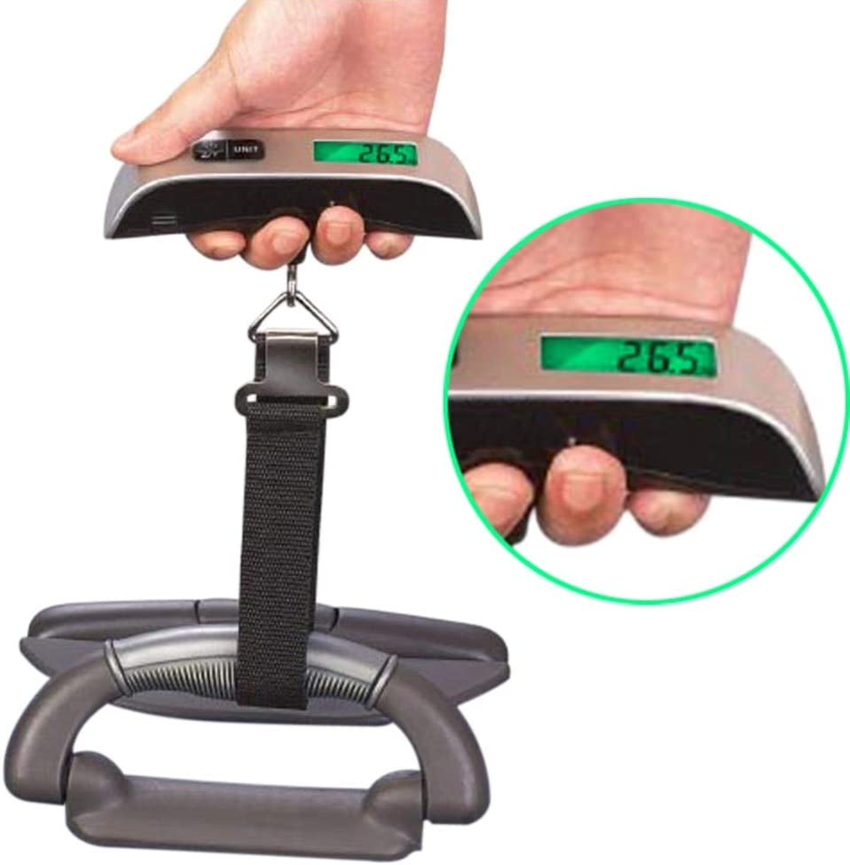 50kg//10g Luggage Scale Digital Scale LCD Display Electronic Portable Suitcase Weight Travel Bag Hanging Scales w//Strap Belt New-Sky-View