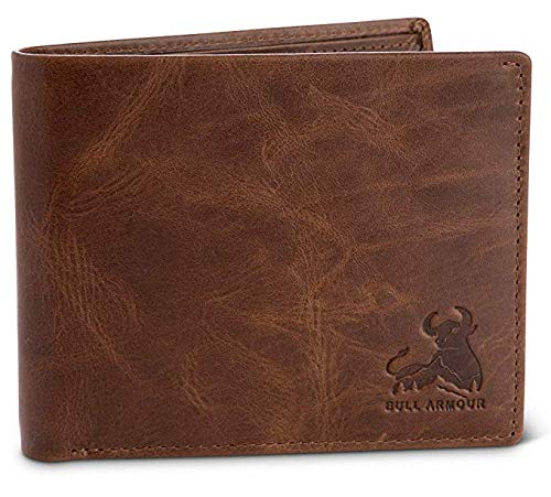 Bull Guard Mens RFID Blocking Bifold Wallet Soft Genuine Leather Brown Western
