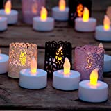 Frux Home and Yard Flameless Yellow Flickering LED Battery Powered Tealight Candles with Bonus Decorative Tealight Wraps (72 Pack),