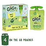 GoGo squeeZ Applesauce on the Go, Apple Pear, 3.2 Ounce (4 Pouches), Gluten Free, Vegan Friendly, Healthy Snacks, Unsweetened Applesauce, Recloseable, BPA Free Pouches