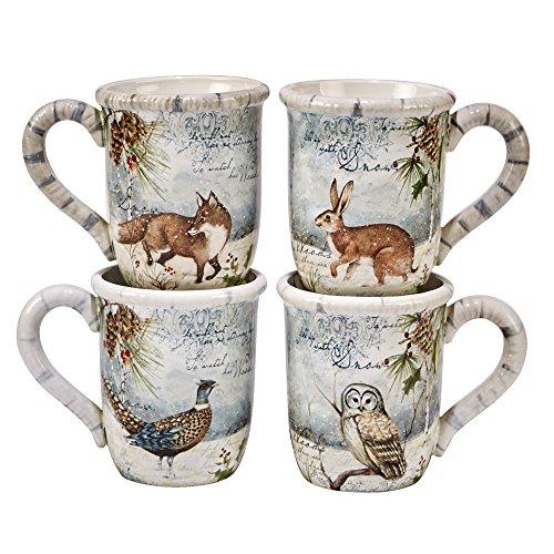Certified International Winter Lodge  16.oz. Mugs, Set of 4 ,Assorted -