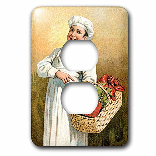 3dRose lsp_149262_6 Vintage Chef Carrying a Basket of Lobsters and Bottles of Wine 2 Plug Outlet Cover