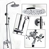 Exposed Wall Mount Shower and Tub Filler Faucet Set with Large Solid Brass Rainfall Head and Handheld Shower Dual Cross Handles Swivel Tub Filler Faucet