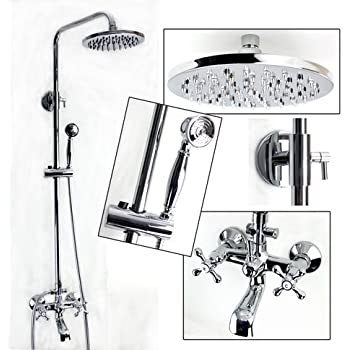 Exposed Wall Mount Shower And Tub Filler Faucet Set With Large Solid Brass  Rainfall Head And