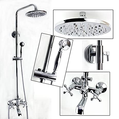 Exposed Wall Mount Shower and Tub Filler Faucet Set with Large ...