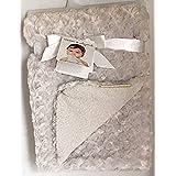 Blankets & Beyond Grey Rosette Swirl Baby Blanket