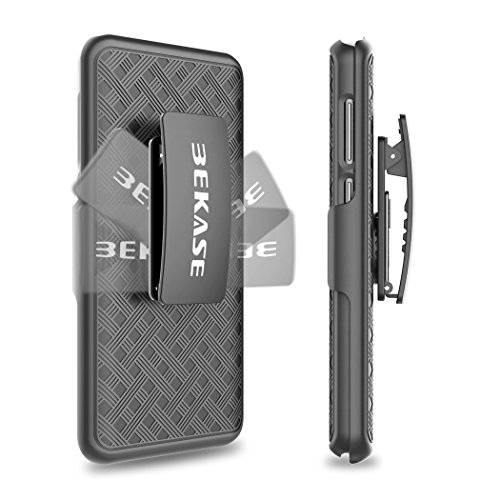 Galaxy S9+ plus Case, BEKASE (TM) Hard Shell Holster Combo Matte Finish Protective Slim Case for Samsung Galaxy S9+ plus with KickStand and Locking Belt Swivel Clip (Black)
