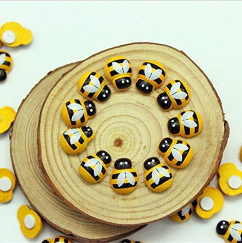 Sun Glower Especial 100 Piezas de Madera de Abeja autoadhesiva Mini Abejas Madera Craft Tarjeta Amigos
