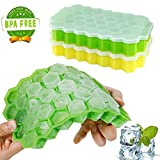 #2: Ice Cube Trays,Wattly 2 Pack Food Grade Silica Gel Flexible and BPA Free 74 Cubes Ice Trays with Lid Stackable Mini Cocktail Whiskey Ice Cube Mold Storage Containers-Green/Yellow