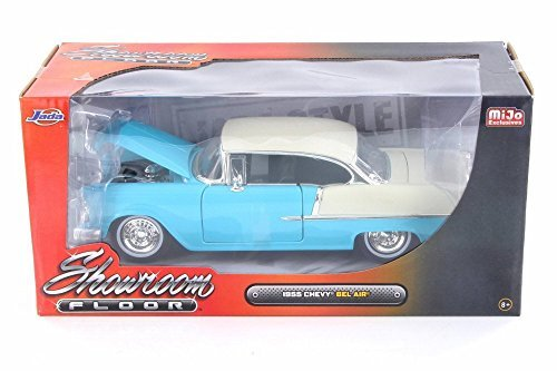 (1955 Chevy Bel Air Hard Top, Turquoise Blue - Jada 98886-MJ - 1/24 Scale Diecast Model Toy Car)