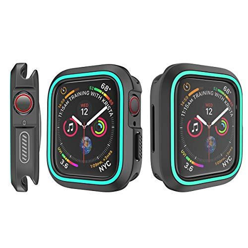 (Studyset for iWatch 4 40mm/44mm TPU Bumper Case Cover Protector Shell Black + Mint Green iWatch 4)