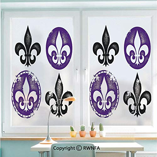 RWNFA Non-Adhesive Privacy Window Film Door Sticker Collection of Fleur De Lis Designs Silhouettes Vintage Artistic Spiral Art Print Glass Film 22.8 in by 35.4in(58cm by 90cm),Black Purple