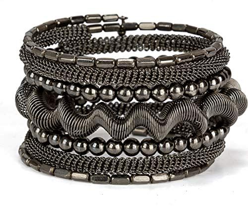 SPUNKYsoul Coil Bracelet Gold Silver or Gun Metal for Women (Gun Metal) ()