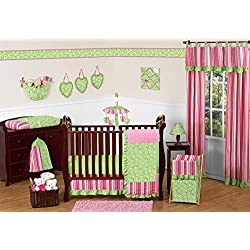 Sweet Jojo Designs Funky Pink and Lime Green Olivia Boutique Baby Girl Bedding 11 piece Crib Set without bumper
