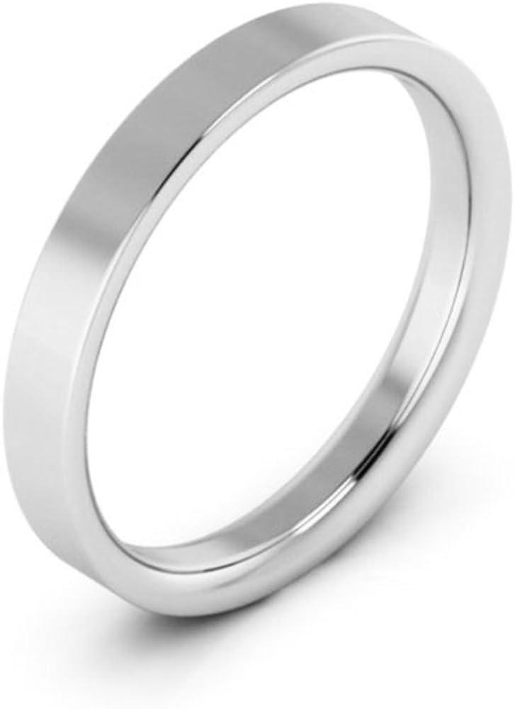 18K White gold 4mm raised edge comfort fit mens /& womens wedding bands