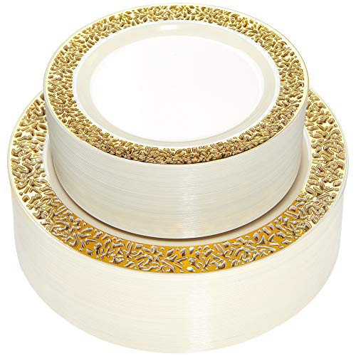 WDF 102 pieces Gold Plastic Plates- Ivory with Lace Rim Disposable Party Plates,Premium Heavy Duty 51-10.25