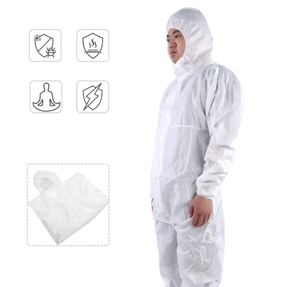 Mono de Seguridad para Trabajo Antiest/ático Protecci/ón Blanco XXL Traje de Protecci/ón Contra Multiusos