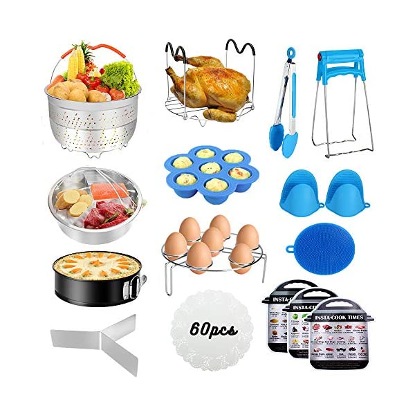8 Qt Oven Mitts Push Pan Egg Bite Mold Casa Verde 7 Piece Pressure Cooker Accessories Set Compatible with Instant Pot 6 Springform Pan Steamer Basket Trivet//Egg Steamer PIP Recipe eBook