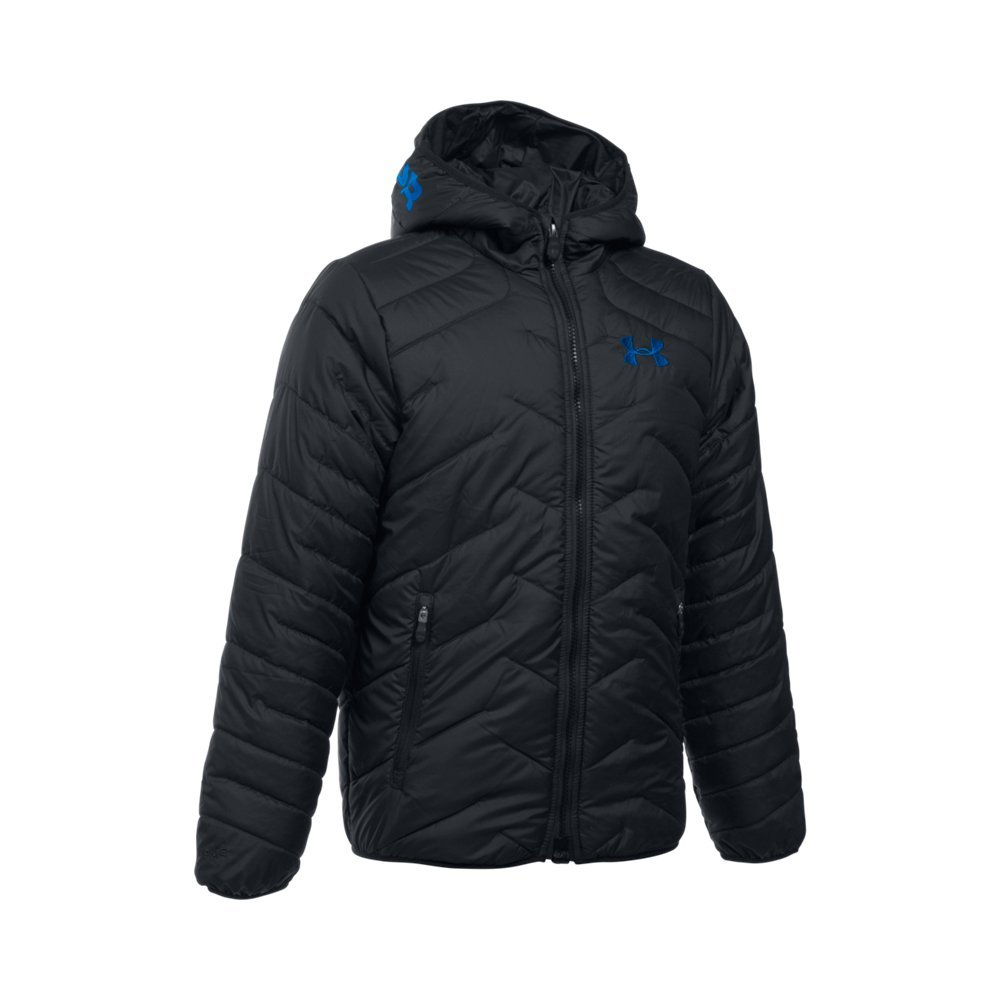 Under Armour Boys' ColdGear Reactor Hooded Jacket, Black/Black, Youth X-Small