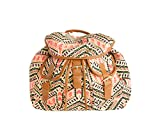 Canvas Vintage Print Rucksacks - Aztec, Owl, Sausage Dog (RY2014048 AZTEC ORANGE/CREAM)
