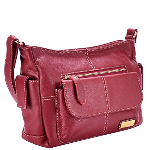 Aretha 141101-r Genuine Cowhide Leather Women Cross Body Shoulder Handbag Red