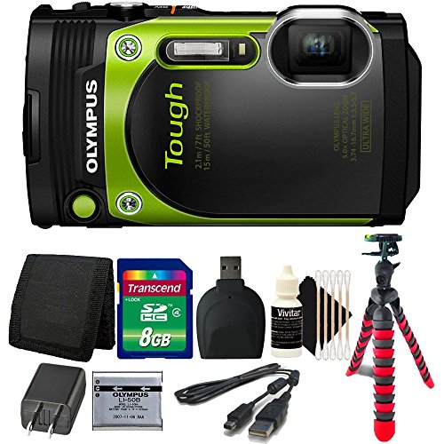 Olympus Stylus TOUGH TG-870 16MP Waterproof Shock Proof Freeze Proof Digital Camera (Green) with 8GB Accessory Kit