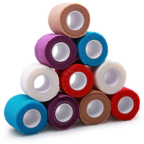 Self-Adhesive Cohesive Wrap Bandage Tape by LotFancy, Elastic Non-Woven, FDA Approved, 10 Rolls, Assorted Colors (2Inches x 5Yards) Stretch Bandage