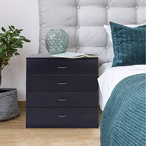 (SSLine 4-Drawer Chest Black Finish Cabinet for Closet/Office Clothes Cosmetic Storage Chest Organizer Wood Dresser with Drawers Unit Bedroom Night Stand)