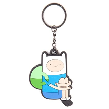 Adventure Time Unisex Sitting Finn Rubber Keychain, One Size, Multi-Colour