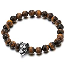 8MM Mens Boys Stretchable Tiger Eye Stones Beads Bracelet with Stainless Steel Wolf Head, Prayer