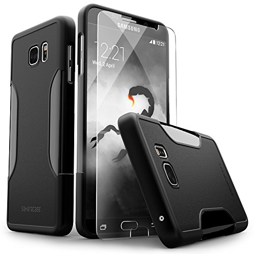 Galaxy Note 5 Case, Black SaharaCase Protective Kit [Case + Tempered Glass Screen Protector] Rugged Hard Frame [Slim Fit] Shock-Absorbing Bumper For Samsung Galaxy Note 5 - Frames Alpha Glasses