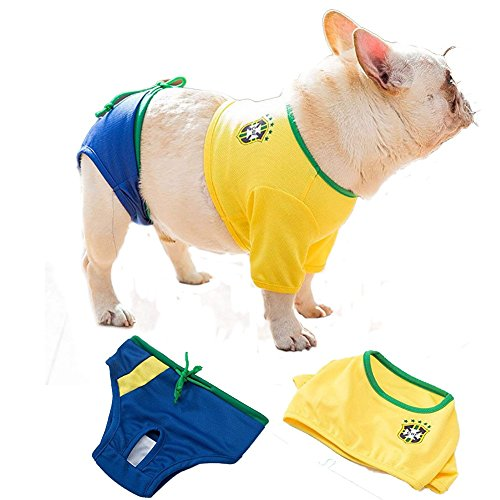 - Bonaweite Pet Summer Costume, Cute Bikini Dress, Leisure Sports Style Vest & Physical Pant Suit, Pets T-Shirt Apparel World Cup Cheerleading Wear Costume for Dogs Cats Puppy Yellow S