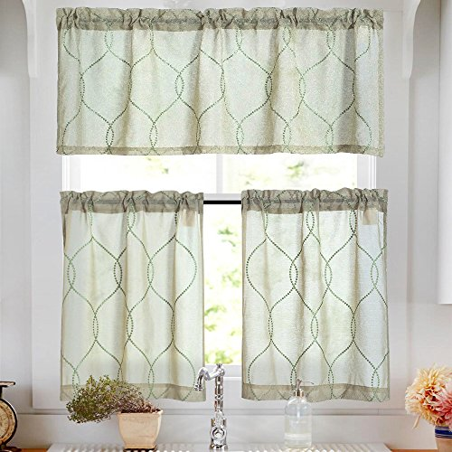 Kitchen Curtain Sets 36 inch Sage 3 Pcs Moroccan Trellis Pattern Embroidered Semi Sheer Kitchen Tier Curtains and Valance Set for Bathroom For Sale