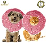 SunGrow Pet Cute Comfy Cone - Post Surgery & Stress-Free Recovery Collar - Durable, Scratch, Bite, & Water Resistant - With Adjustable Velcro Enclosures for Dogs & Cats