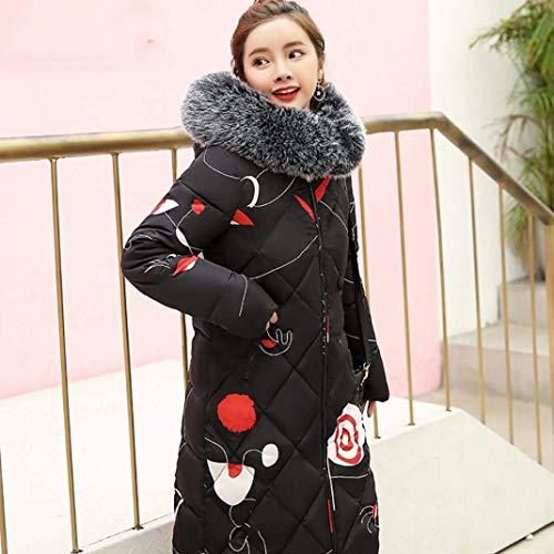Cappuccio Laterali Tasche Piumino Abbigliamento Invernali Giacca Schwarz Targogo Con Di Cerniera Manica Donna Stampate Elegante Pattern Lunga Giubotto Moda Cappotti UwvAqnwx