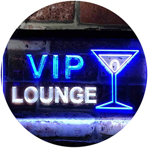 - ADVPRO VIP Lounge Cocktails Glass Bar Wine Club Dual Color LED Neon Sign White & Blue 12