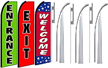 Entrance exit Open King Swooper Feather Flag Sign Kit with Pole and Ground Spike Pack of 3