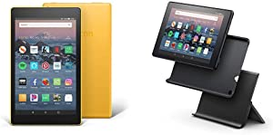 """Certified Refurbished Fire HD 8 Tablet (8"""" HD Display, 16 GB) - Yellow with Show Mode Charging Dock"""