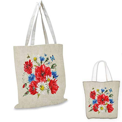 Flowers canvas shoulder bag Vintage Watercolor Bouquet of Wildflowers Poppies Daisies Cornflowers Butterflies canvas lunch bag Multicolor. 12
