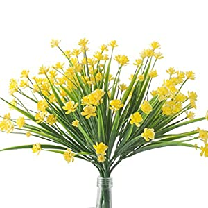 SunshineTrees 4pcs Artificial Daffodils Flowers Greenery Shrubs Plants Plastic Bushes Hanging Planter Wedding Decor 4
