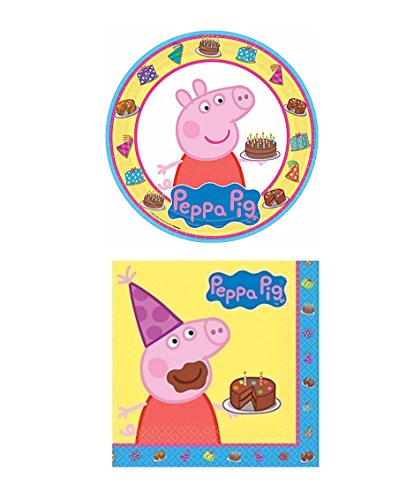 Peppa Pig Lunch Plate & Napkins Party Pack for 8