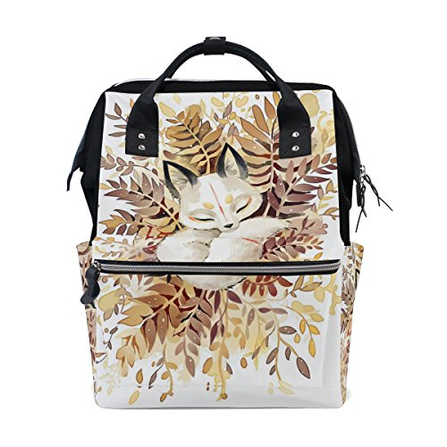 Diaper Bags Backpack Purse Mummy Backpack Fashion Mummy Maternity Nappy Bag Cool Cute Travel Backpack Laptop Backpack with Sleeping White Fox Pattern Daypack for Women Girls Kids by THENAGD