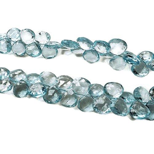 (9 Inch Half Strand, 10x10mm Each, 60 Pcs, Swiss Blue Topaz Beads, Heart Briolette, Faceted Beads,)