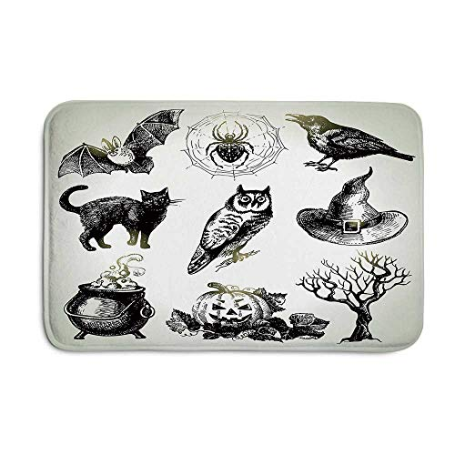 (YOLIYANA Vintage Halloween Fashional Door Mat,Halloween Related Pictures Drawn by Hand Raven Owl Spider Black Cat Decorative for Office Home,23