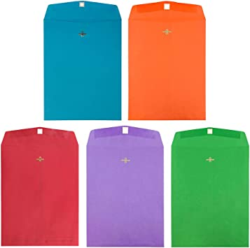 25//Pack JAM PAPER 9 x 12 Colored Envelopes with Clasp Closure Orange Recycled