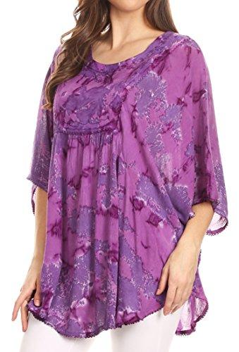 Large Blouse Sequin Top Poncho Violet dentelle Sakkas long Cleeo Up Tie brode Dye Cover qZnSEzHw