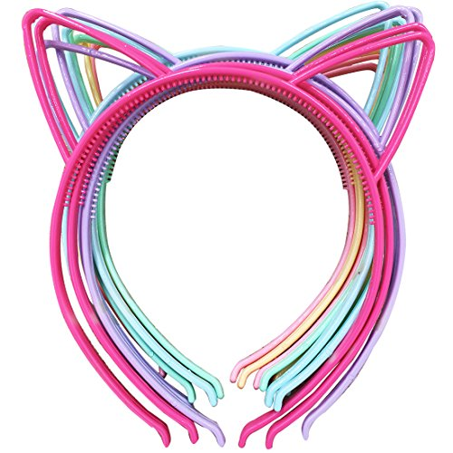 XIMA 12pcs Plastic Cat Ears Girls Headbands Rubbit Ear Hairbands Bows Headbands Bunny Rubbit Headear Hair Accessory (SP-Cat Ear)