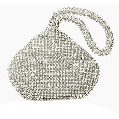 Brand New Silver Crystal Diamond Ladies Party Evening Wedding Hand Bag Pouch Purse